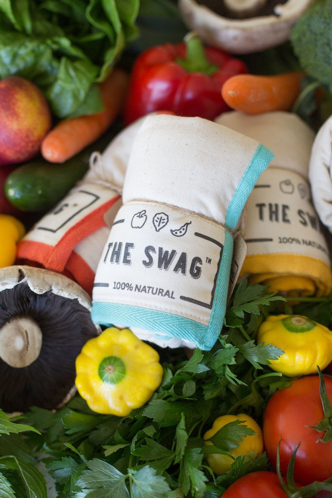 Three Rolled Produce Storage Bags (Small) by The Swag, with Fresh Vegetables