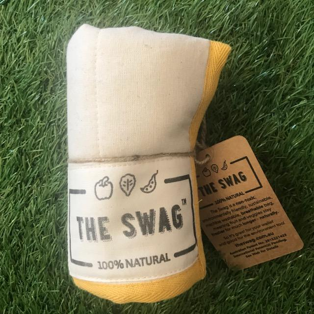 A Rolled Produce Storage Bag (Small) by The Swag, with Yellow Trim