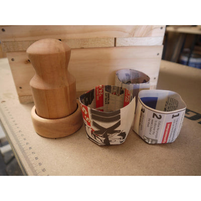 Urban Revolution Australia Wooden Newspaper Pot Maker - Pine - Rippa Woodturning Garden Small