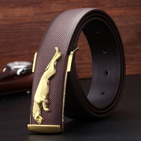 Brown & Gold Jaguar Slide Buckle Belt