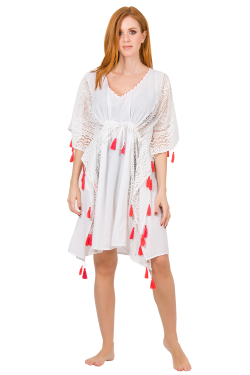 Cotton Side Net Short Kaftan