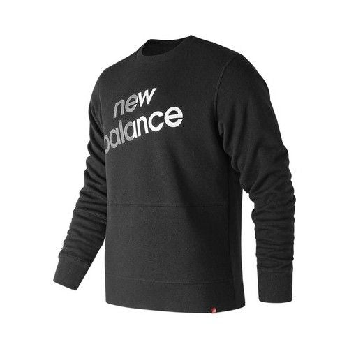 New Balance Men's MT83576 Essentials Linear Brushed Crew Sweatshirt Black