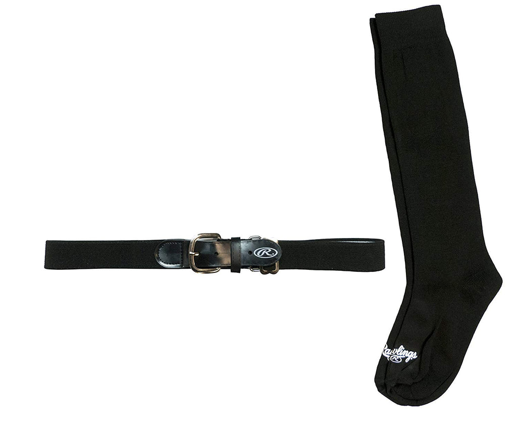 Rawlings Baseball Belt & Sock Combo Black