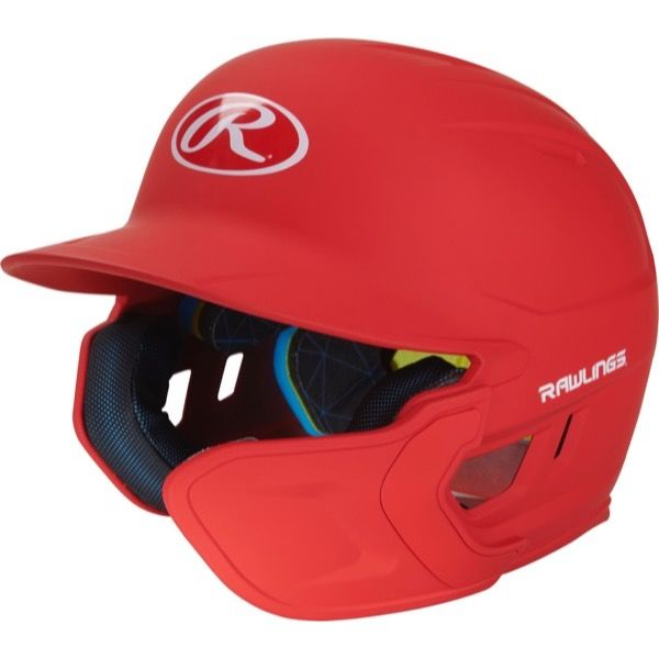 Rawlings Mach One-Tone Red Matte Helmet with EXT Flap For Right-Handed Batter
