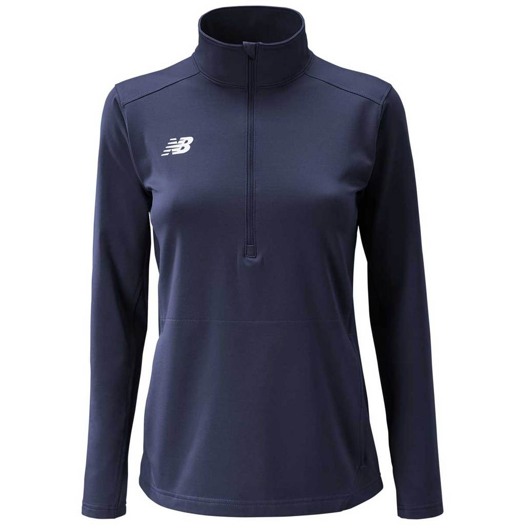 NEW BALANCE WOMEN'S LIGHTWEIGHT SOLID HALF ZIP NAVY