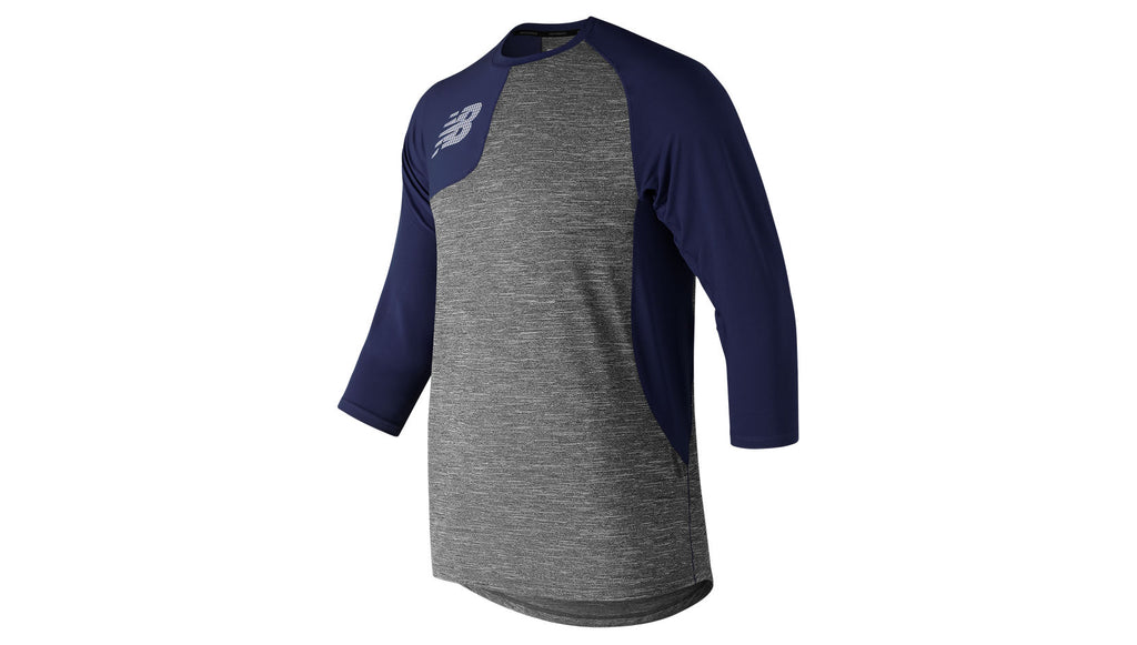 NEW BALANCE ASYM 2.0 RIGHT 3/4 SLEEVE NAVY