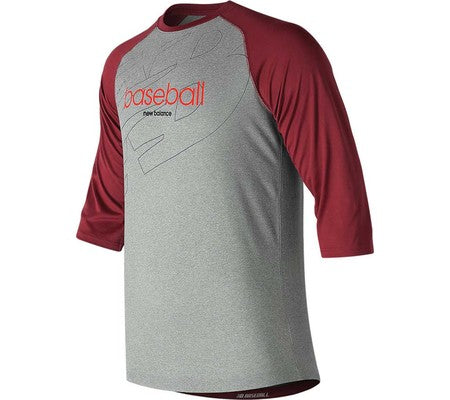 NEW BALANCE WALK OFF GRAPHIC RAGLAN TEE CARDINAL