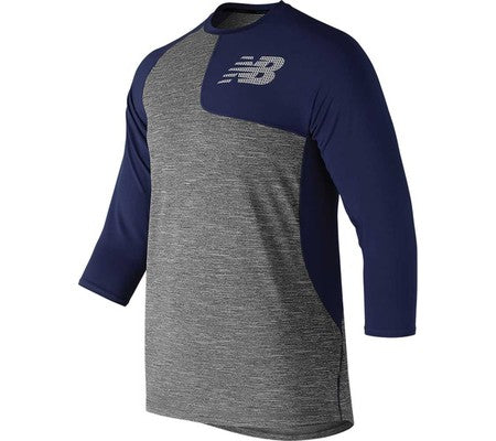 NEW BALANCE ASYM 2.0 LEFT 3/4 SLEEVE NAVY