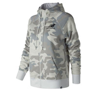 NEW BALANCE Women's Essentials Mini Logo Brush Full Zip Hoodie White/Camo