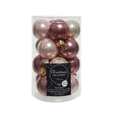 Tube of 16 Assorted Mini Baubles - Pink