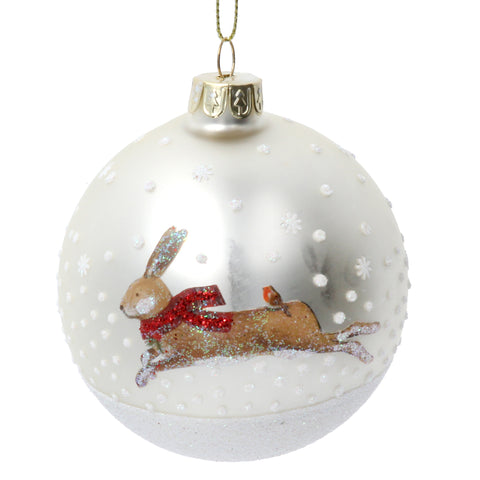 Glass Bauble With Hare