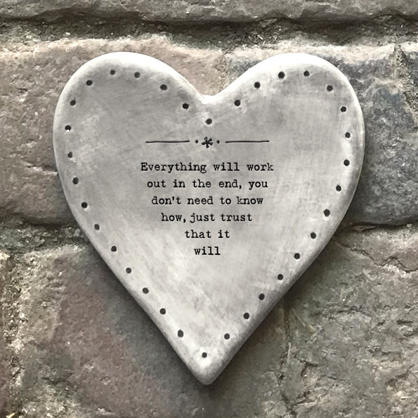 Rustic Heart Coaster - 'Everything Will Work Out'