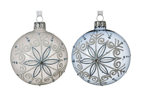 Glass Bauble With Snowflake Design
