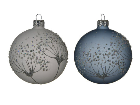 Glass Bauble With Cow-parsley Flower Design
