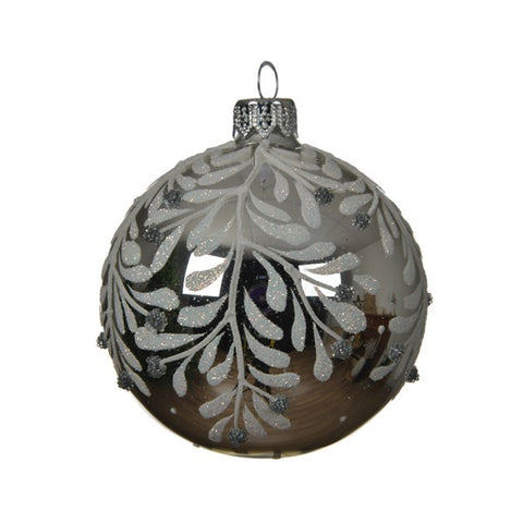 Silver Glass Bauble With Leaf Design