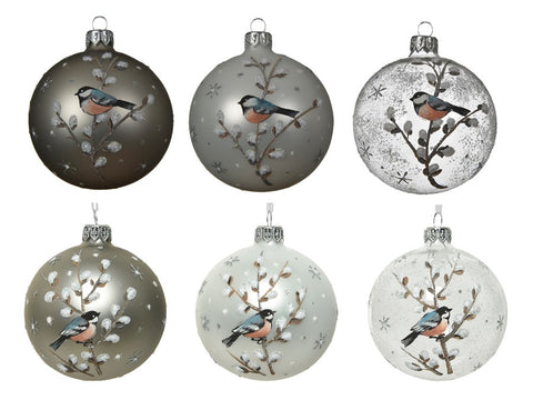 Set of 6 Assorted Glass Baubles With Bird Design