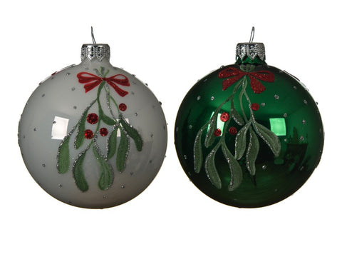 Set of 2 Mistletoe Glass Baubles