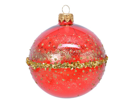 Red Glass Bauble With Gold Glitter