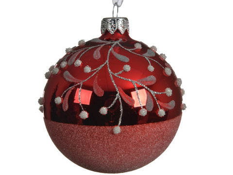Red Glass Bauble With Berry Design