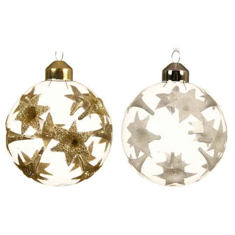 Clear Glass Bauble With Reflex Flowers