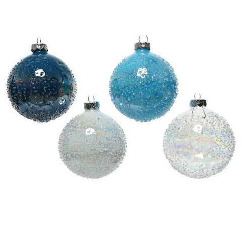 Set of 4 White, Clear & Blue Glass Baubles