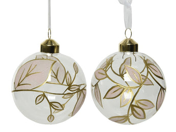 Set of 2 Clear Glass Baubles With A Gold Leaf Design