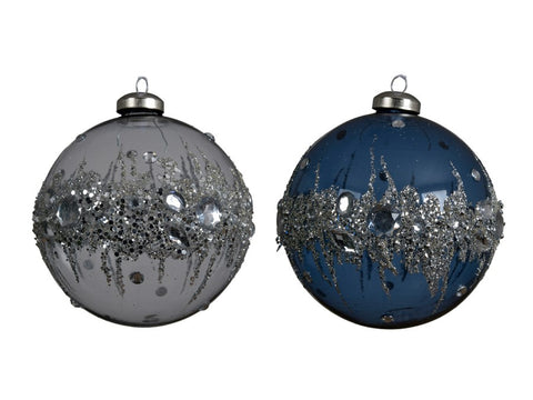 Assorted Glass Baubles With Ring of Ice Diamonds