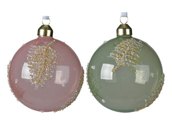 Assorted Glass Baubles With A Ballotin Leaf Design