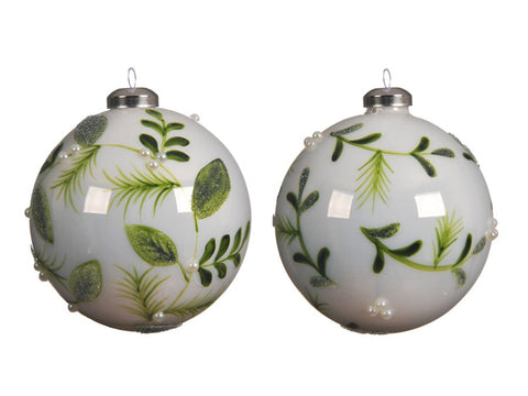 Set of 2 White Glass Baubles With A Green Leaf Design
