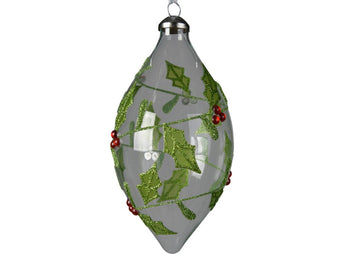 Clear Teardrop Glass Bauble With A Holly Design
