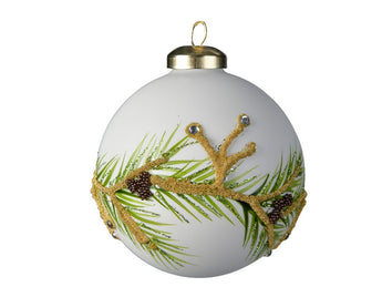 White Glass Bauble With A Pine Cone Design