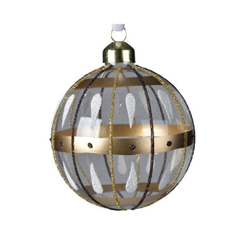 Clear Glass Bauble With A Brown & Gold Striped Design