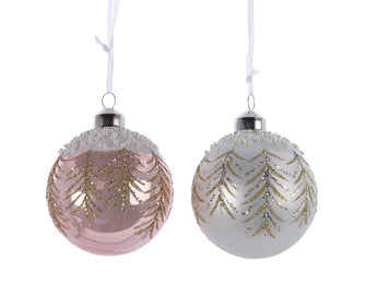 Assorted Glass Bauble With Glitter & Pearls