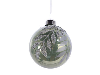 Green Glass Bauble With Beaded Leaf Design