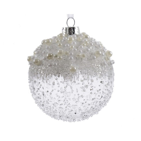 Clear Ice Effect Glass Bauble With Pearls