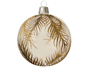 Clear Glass Bauble With Gold Leaf Design