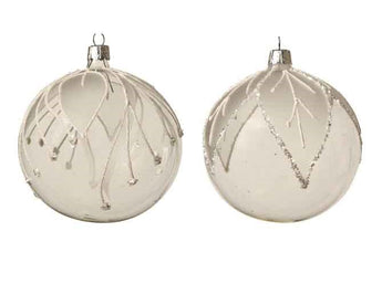Set of 2 Clear Glass Baubles With White Leaf Pattern