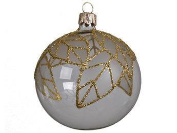 Clear Glass Bauble With Gold Glitter Leaves
