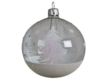 Clear Glass Bauble With Glittery Snow-scene