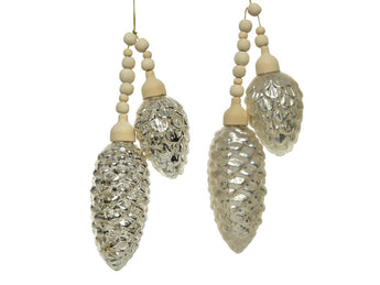 Set of 2 Glass Pine Cone Bundles - Silver