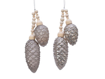 Set of 2 Glass Pine Cone Bundles - Grey