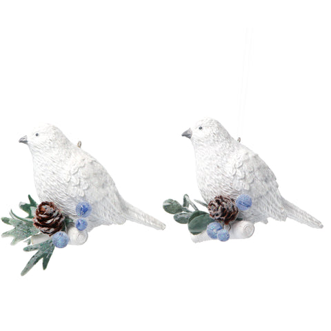 Set of 2 White Birds with Eucalyptus & Berries