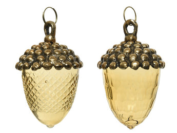 Set of 2 Glass Acorns - Gold