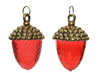 Set of 2 Glass Acorns - Red