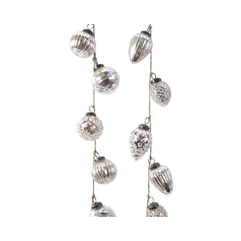 Assorted Glass Bauble Garland - Silver