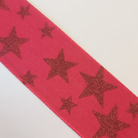 Red Ribbon With Glittery Red Stars - By The Metre
