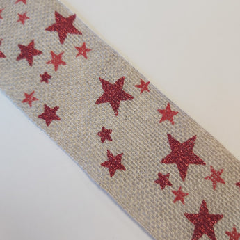 Natural Hessian Ribbon With Red Glittery Stars - By The Metre