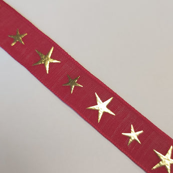 Red Ribbon With Gold Stars - By The Metre
