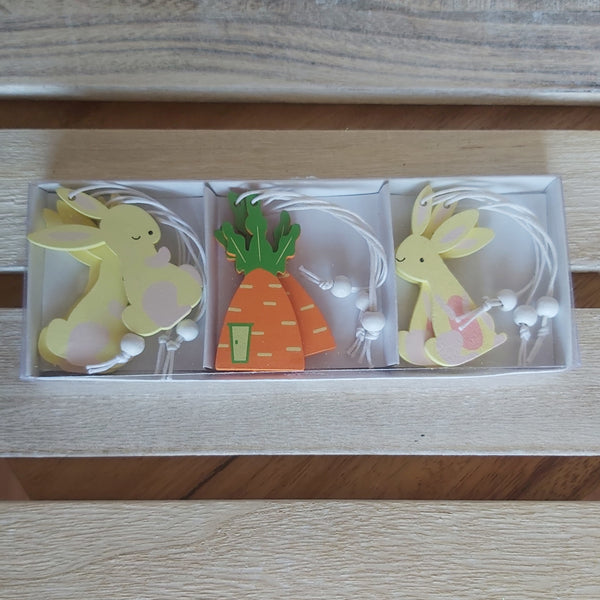 Pack of 9 Easter Decs - Yellow Bunnies