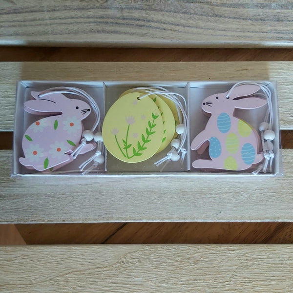 Pack of 9 Easter Decs - Pink Bunnies